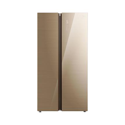 【温湿精控】美的(Midea)550L冰箱 对开门冰箱 多维智能变频 铂金净味 玻璃面板 凯撒金