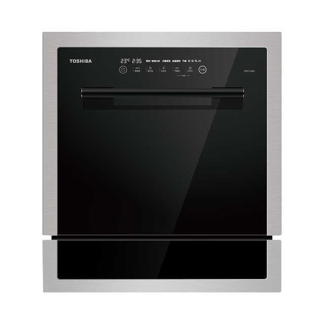 【2层智能油感】TOSHIBA东芝 日本智能家用洗碗机 47分贝静音黑晶款 DWT2-0821