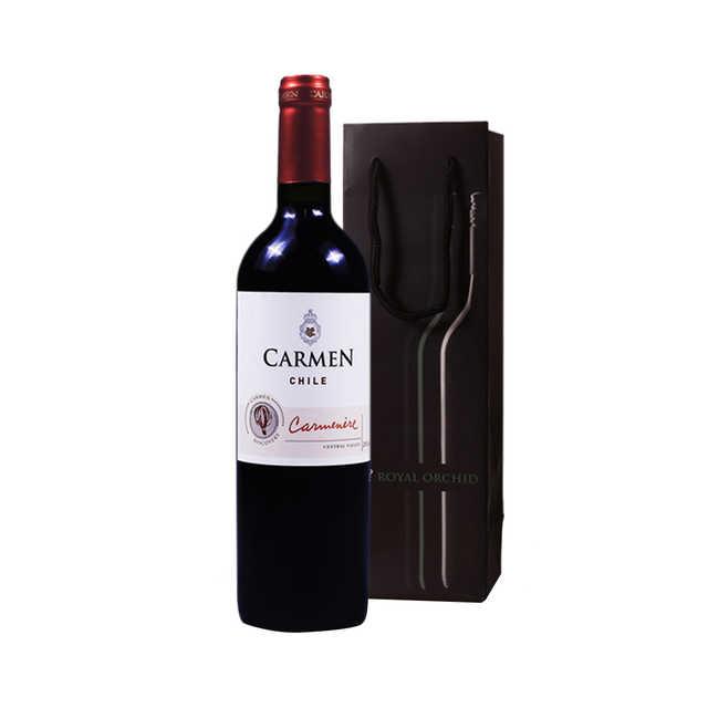 红酒 原瓶进口卡门佳美娜干红葡萄酒 750ML