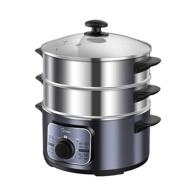 电蒸锅 三层不锈钢 蒸煮刷焖炖 10升大容量 旋钮操作 MZ-ZG26Easy401
