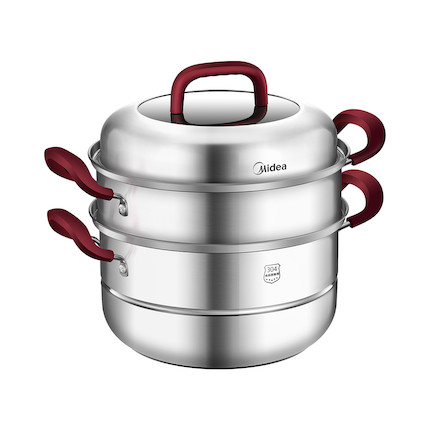 【蒸锅】送蒸布和碗碟夹 三层大容量 304食品级不锈钢 26cm口径  MP-ZG26G03