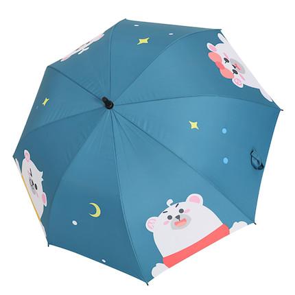 熊小美周边产品 熊一家直柄雨伞(深蓝)