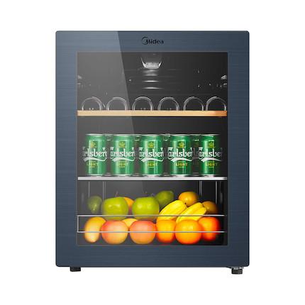 【酒柜冰吧】美的 家用恒温红酒柜冰吧冷藏雪茄酒柜玻璃冰柜 JC-66GM
