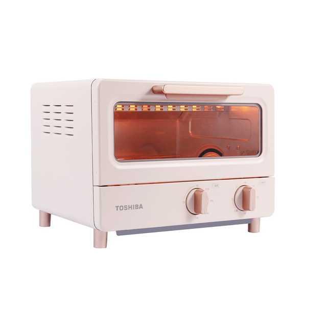 东芝 迷你电烤箱8L小容量 极简设计 上下管均匀速热 精准定时 ET-TD7080(粉红色)