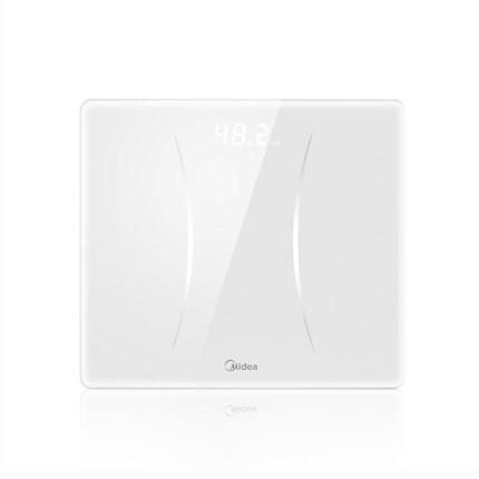 美的健康秤MS-CW4 体重秤 白色 隐藏式LED屏 轻薄机身 USB充电