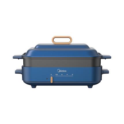 【送竹铲】【新品】多功能锅电火锅煎烤机 不粘材质 防烫手柄 防溢汤 MC-DY3020P201蓝色款