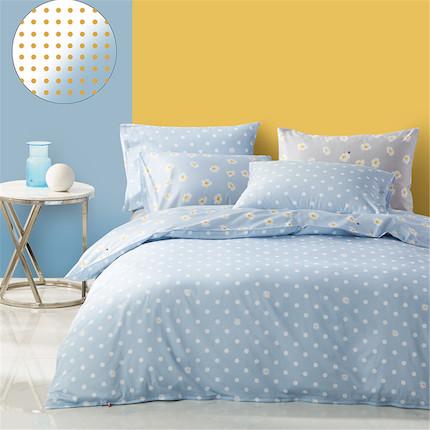 床上用品 纯棉印花四件套:波尔卡知夏(蓝)  适用于1.5米床 200*230的被芯