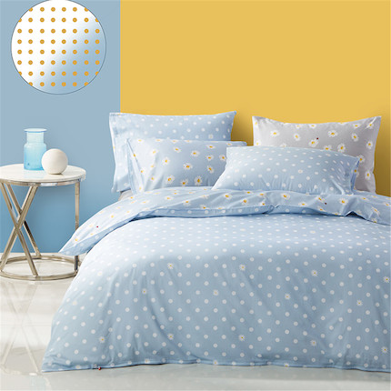 家纺床上用品 纯棉印花四件套:波尔卡知夏(蓝) 适用于1.8米床 248*248的被芯