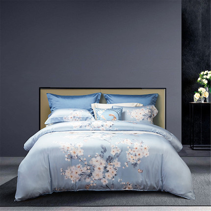 梦洁家纺 美的床上用品 天丝印花四件套:白露150*200