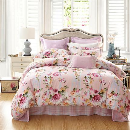梦洁家纺 美的 纯棉印花四件套:黛西米勒(粉) 适用于1.5米的床,200*230被芯