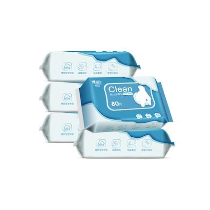纸品清洗 心相印婴儿湿巾水系列5包纯水洁肤
