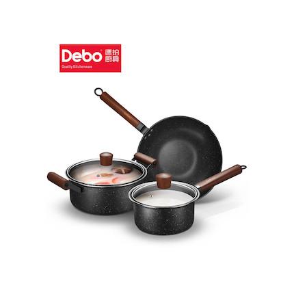 Debo德国32cm炒锅24cm汤锅18cm奶锅三件套餐具厨具